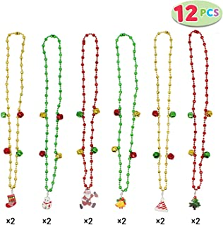 Set of 12 Christmas Jingle Bells Necklaces for Christmas and Holiday Party Favors with 6 Designs