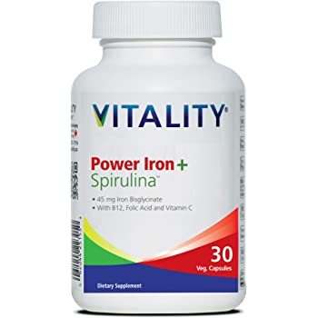 New - VITALITY Power Iron + Spirulina | 45mg Iron | Blood Builder | Iron Deficiency Support | Vegan | All Natural Supplement | Gentle on Stomach | 30 Capsules