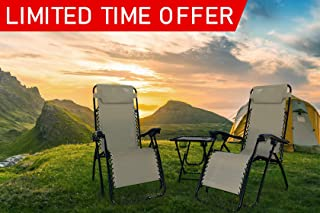 Rxmoto Zero Gravity Chairs Table with Cup Holder Set 3 Pieces Adjustable Folding Lounge Recliners with Head Rest Pillow for Patio Outdoor Yard Beach Pool Support 350lbs
