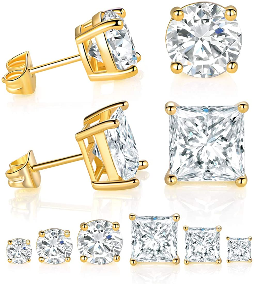 6 Pairs Gold Plated Gold Cubic Zirconia Earrings Pack Round Cut and Princess Cut Earrings for Men and Women