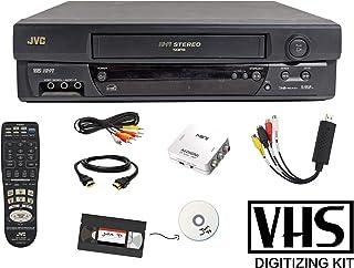 JVC VCR VHS Transfer Bundle w/Remote, USB Adapter, HDMI Converter (Composite AV)
