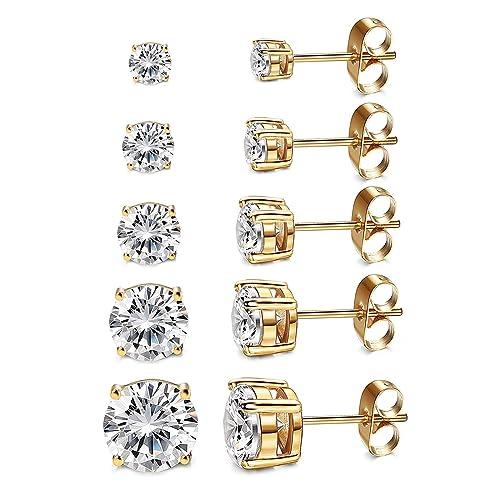 79faf17ed Women's 18K Gold Plated CZ Stud Earrings Simulated Diamond Round Cubic  Zirconia Ear Stud Set(