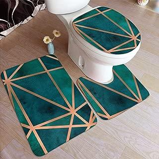 Copper & Emerald Geo Bathroom Rug Set 3 Pieces, Non Slip Absorbent Bathroom Rug, U-Shaped Toilet Mat, Elongated Toilet Lid Cover