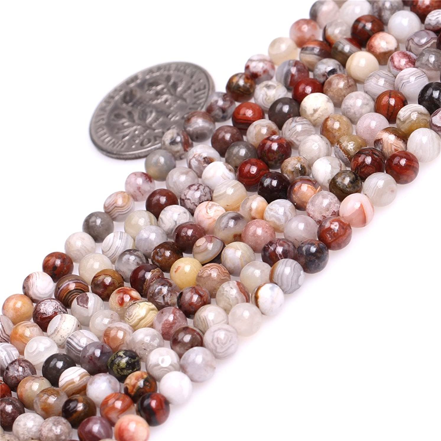 JOE FOREMAN 4mm Dark Red Mexico Laguna Lace Agate Semi Precious Gemstone Round Loose Beads for Jewelry Making DIY Handmade Craft Supplies 15