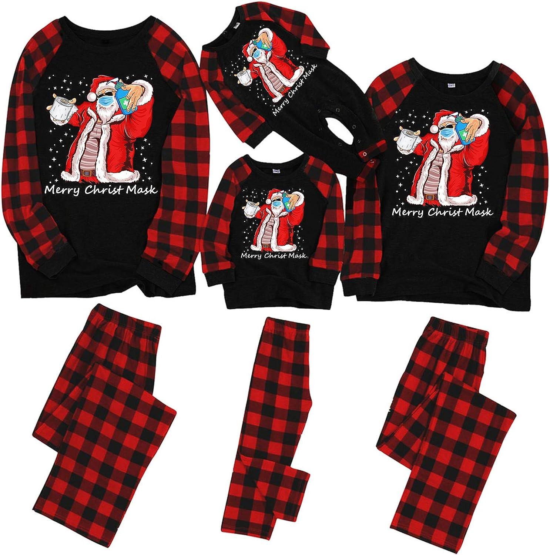 KAIXLIONLY amily Christmas Pajamas Matching Sets Womens Mens Holiday Sleepwear Red Plaid Top and Long Pants Pjs Sets 1