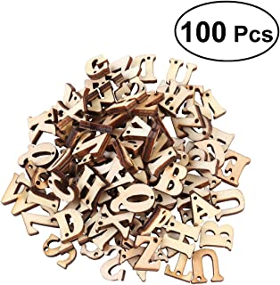 ROSENICE 100pcs Wooden Alphabet Letters Unfinished Wood Cutouts Craft Wooden Discs with Holes