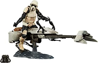 Star Wars - The Black Series - Mandalorian - Speeder Bike and Scout with The Child - Baby Yoda - Grogu - Collectible Actio...