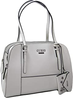 New Guess Logo Purse Satchel Hand Bag & Coin FOB White/Ivory Silver Flowing