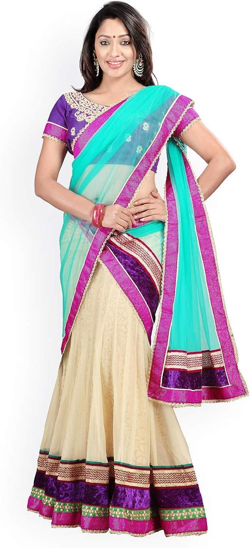 Generic WOMN CreamColoured & Purple Net & Brasso SemiStitched Lehenga Choli Material with Dupatta