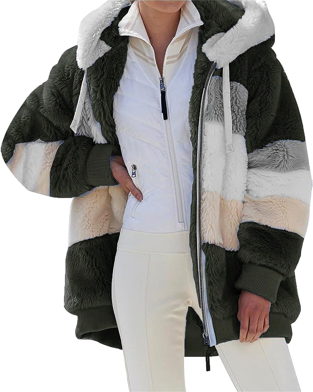 A2A Womens Oversized Fleece Teddy Coat Fuzzy Full Zip Winter Hooded Sherpa Jacket with Pockets ooded Jacket Stripe Sweaters