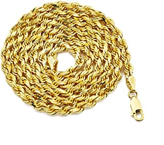 10K Yellow Gold 4mm Diamond Cut Rope Chain Necklace with Lobster Lock (18