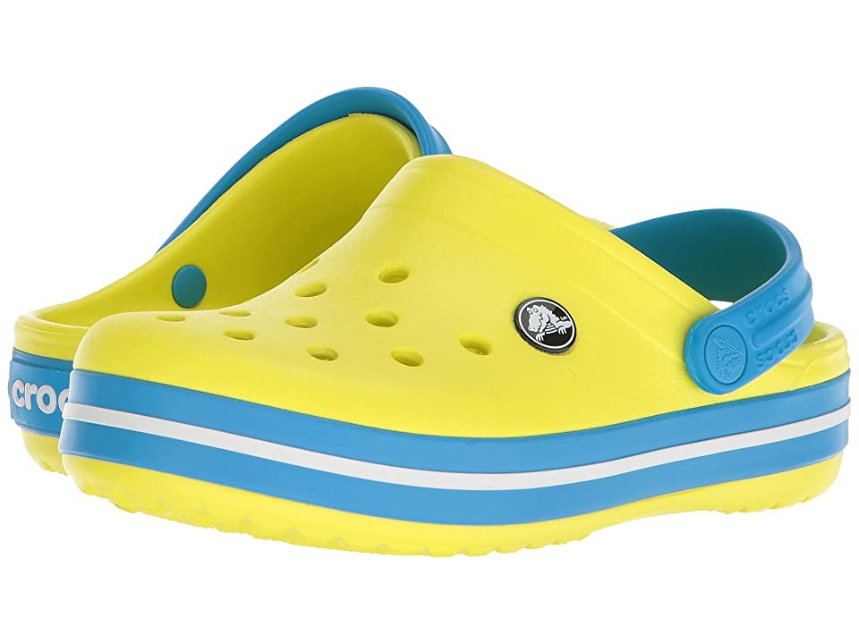 Crocs Kids Crocband Clog (Toddler/Little Kid) (Tennis Ball Green/Ocean) Kids Shoes