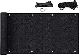 Sekey Pantalla para Balcón Jardín Protección de Privacidad Opaca Polyster, Protección UV, Resistente al Viento, se Puede Cortar, con Cuerda y Bridas (0.9×6m, Negro)