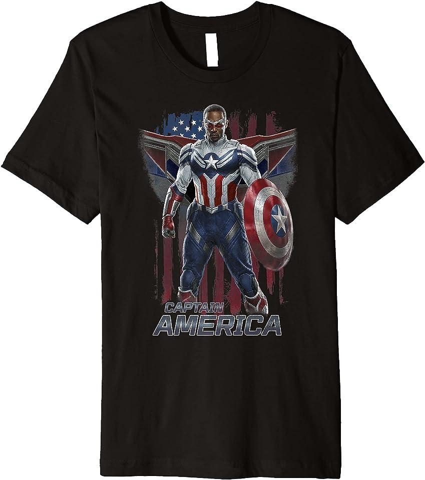 Falcon Winter Soldier Captain America Flag Portrait Premium T-Shirt