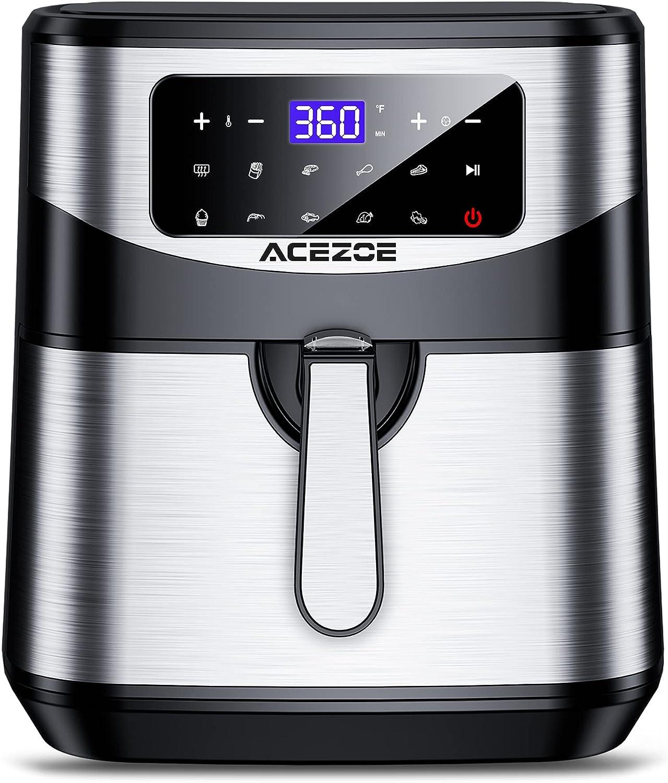 Freidora sin Aceite 7L, Acezoe 1700W Freidoras de aire caliente Horno de sin aceite con pantalla táctil digital LED, 10 menús preestablecidos, 100 recetas, antiadherente, cesta desmontable