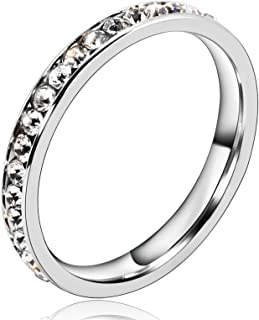 Adisaer Silver Plated Finger Wedding Bands for Womens Round Cubic Zirconia 3MM Width Silver Size 7-12 Great Gift for Christmas