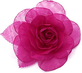 LIDA LYDI - Spilla a forma di fiore in tessuto di organza, colore rosa