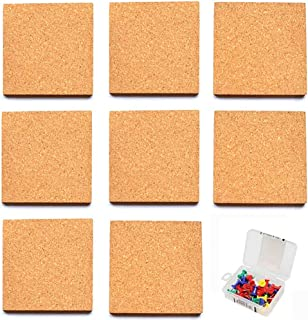 Cork Tiles, Cork Board, 30cm x 26cm, Corkboard, Wall Bulletin Boards With 35 Multi-Color Push Pins, Natural, 8 Pack
