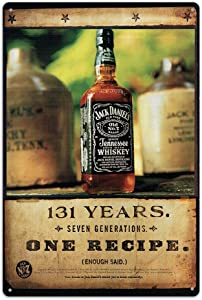 NaCraftTH Metal Iron Tin Sign Jack Daniels Tennessee Whiskey Retro Classic Vintage Hanging Wall Art for Pub Bar Home Decor, 8