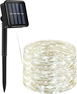 Moreplus 33ft Solar Powered String Lights 8 Modes Copper Wire Lights Indoor/Outdoor Waterproof Decorative String Lights for Patio Garden Wedding Christmas Decor (White)
