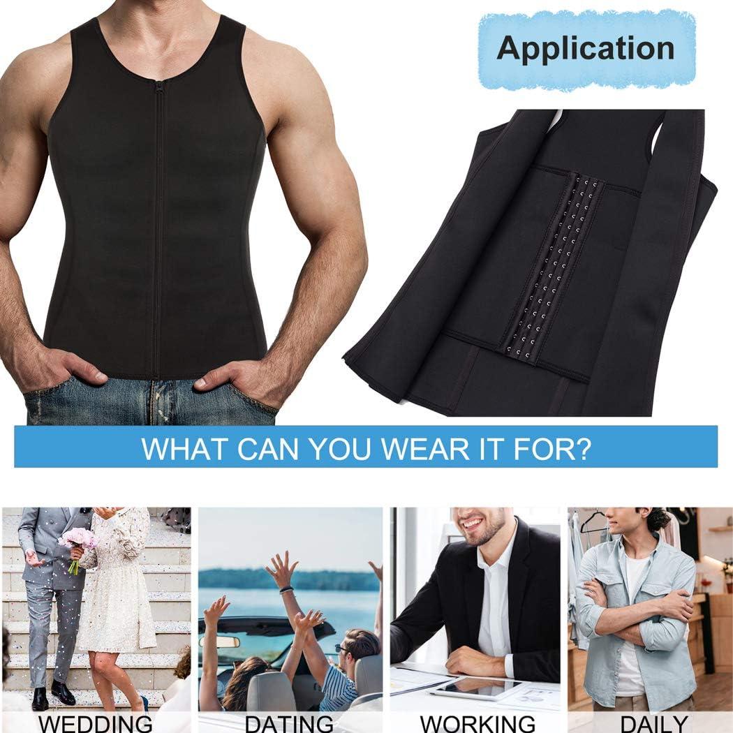 Gotoly Men Waist Trainer Vest Weightloss Corset Sport Body Shaper Zipper Closure Sweat Suits Tummy Cincher Workout Shirt