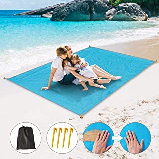 Newtion Sand-Free Beach Mat 59 x 78.7 ft Lightweight Beach Mat Sandproof Beach Mat with 4 Metal Stakes and Storage Bag.Fast Dry,Perfect Ultra Portable for Beach,Picnic,Outdoor Events