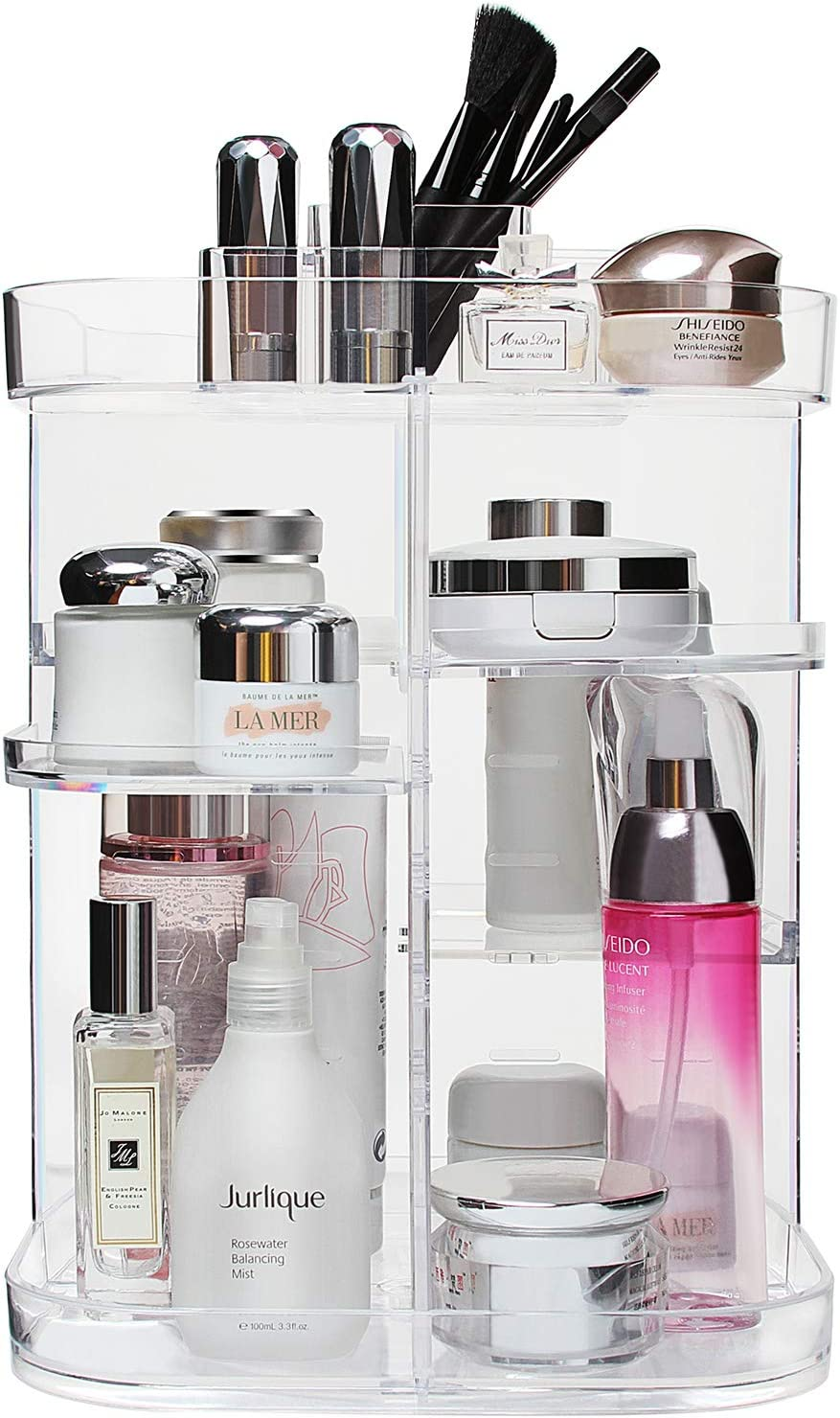 Boxalls Makeup Organizer 360 Degree Rotating Storage, Multi-Function Clear Carousel Cosmetic Organizer with 5 Layers Large Capacity, Great for Countertop Vanity Bathroom Bedroom, Square Shape: Home Improvement