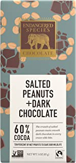 Endangered Species Elephant, Dark Chocolate with Salted Peanuts, 3 Ounce (Pack of 12)
