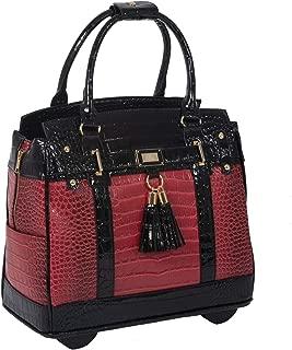Baton Rouge II Burgundy, Red & Black Alligator Computer iPad, Laptop Tablet Rolling Tote Bag Briefcase Carryall Bag