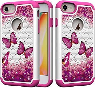 iPhone 8 Plus Case, iPhone 7 Plus Case, iPhone 6 Plus/6s Plus Case, UZER Dual Layer Shockproof Glitter Sparkle 3D Diamond Bling Rhinestone Painted Series Case for iPhone 8 Plus/7 Plus/6S Plus/6 Plus