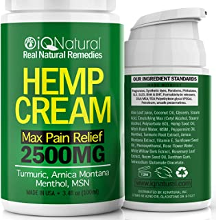 Hemp Cream for Pain Relief- Natural Hemp Oil Extract Lotion for Joint & Muscle Pain - Extra Strength Hemp Cream Topical Salve | Arnica Cream 3.4 oz