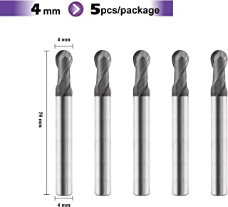 SPEED TIGER SB Carbide Square End Mill - Micro Grain Carbide End Mill for Alloy Steels/Hardened Steels - AlTiBN Coating - 2 Flute - MSB0402T (5 pieces, 4mm)