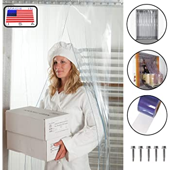 height strips with 50/% overlap Strip-Curtains.com: Strip Door Curtain 8 ft Hardware included width X 96 in. 3 ft Anti Static smooth 8 in 36 in. common door kit