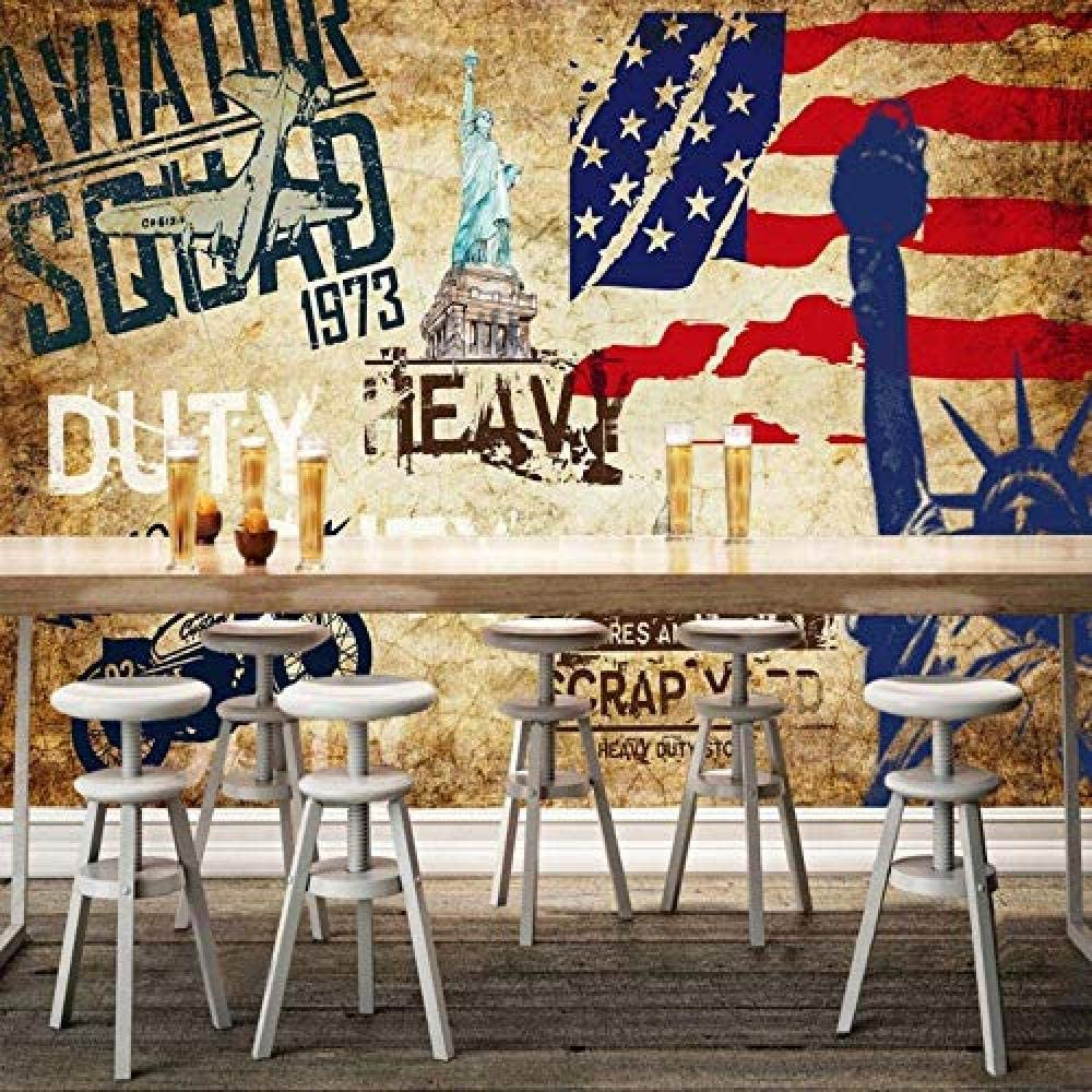 Amazon 山笑の美 3dステレオアメリカンスタイルのノスタルジックな壁紙バーヴィンテージ手描きの壁紙壁画 150x130cm 壁紙