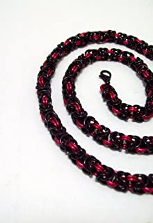 mens necklace, chainmaille necklace, black red necklace, byzantine necklace