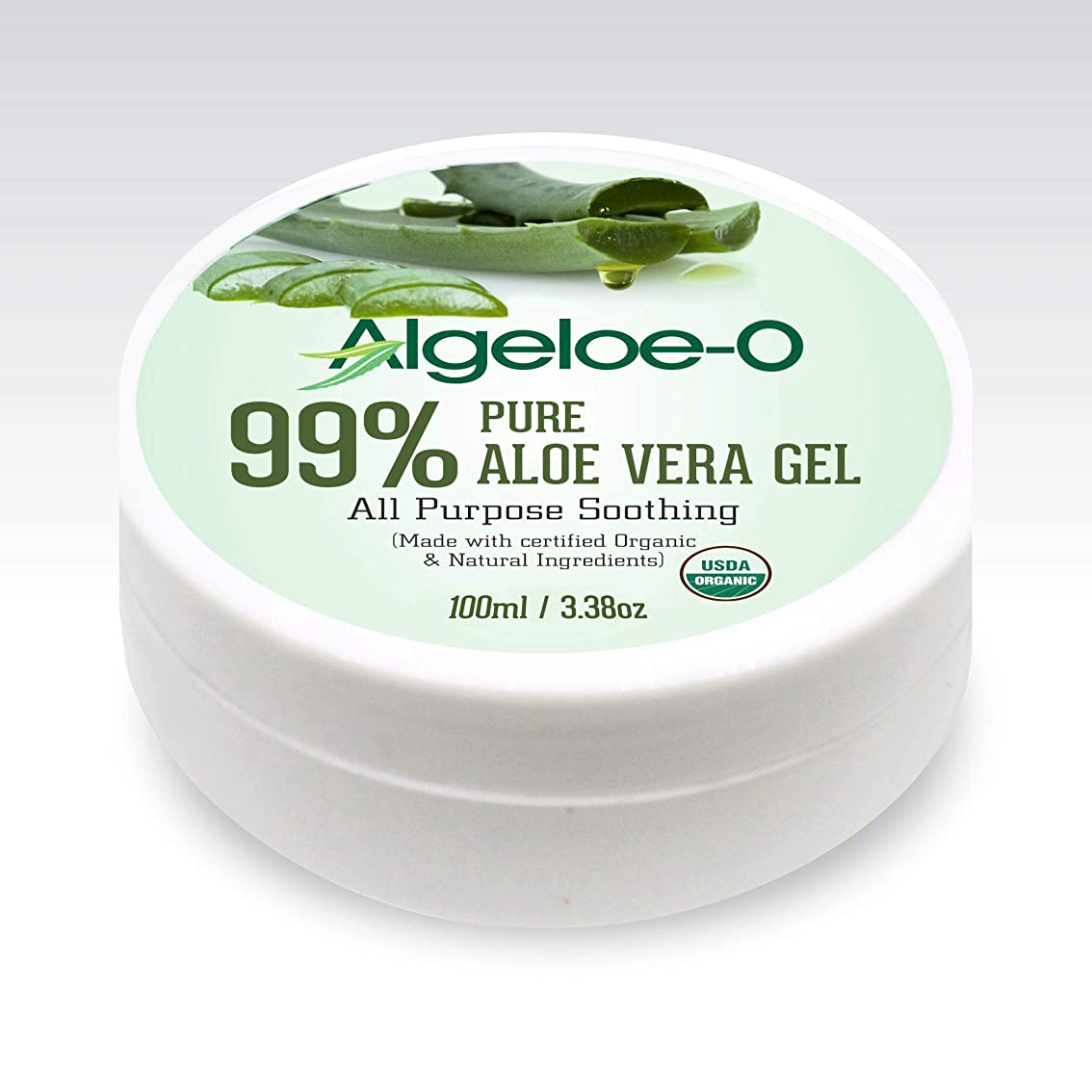 Algeloe-O? Organic Aloe Vera Gel 99% Pure Natural made with USDA Certified Aloe Vera Powder Paraben, sulfate free with no added color 100ml/3.38oz.