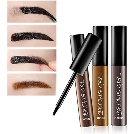 3Pcs Makeup Peel-Off Eyebrow Gel Brow Tinting Gel Kit Waterproof Long-Lasting Tattoo Eyebrow,Natural and Elegant Brow Color(Dark Brown,Natural Brown,Gray Black)
