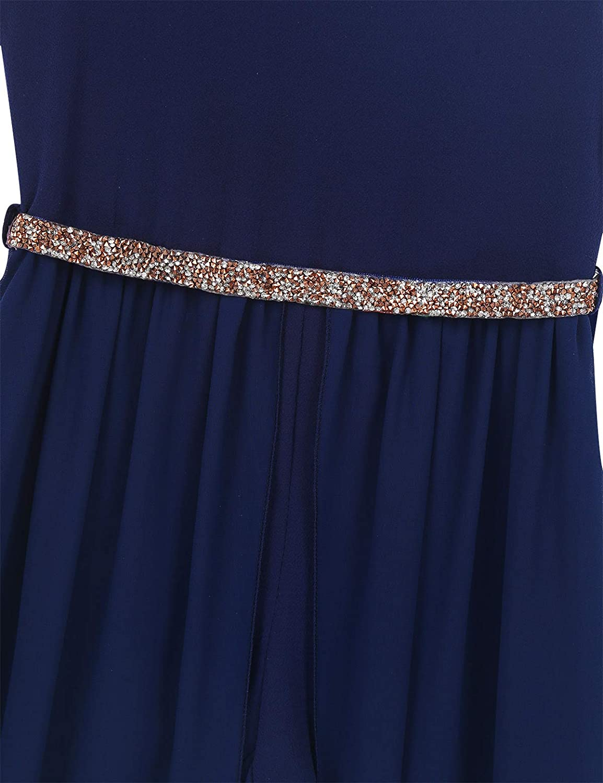 Sholeno Kids Girls V Neck Pageant Dance Birthday Party Maxi Romper Dress with Sequins Belt Flower Girls Dress