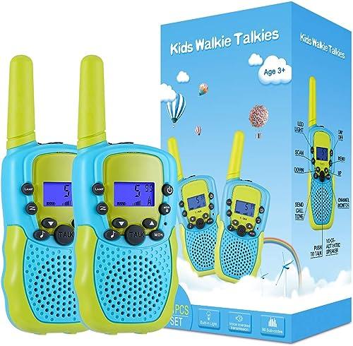 Kearui Jouet Garcon 3-12 Ans, Talkies Walkies Enfants Radio à 2 Voies avec 8 Canaux, Lampe de Poche LCD Rétro-éclairé...