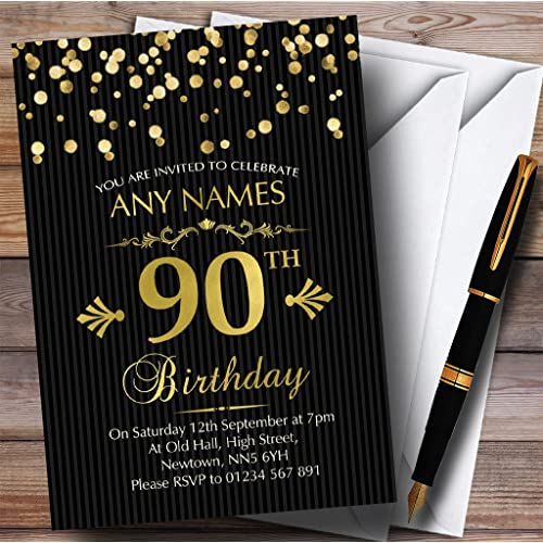 Gold Confetti Black Striped 90th Personalized Birthday Party Invitations