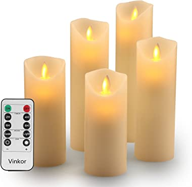 "Vinkor Flameless Candles Battery Operated Candles Set Decorative Flameless Candles 4"" 5"" 6"" 7"" 8"" Classic Real Wax Pillar with Moving LED Flame & 10-Key Remote Control 2/4/6/8 Hours Timer"