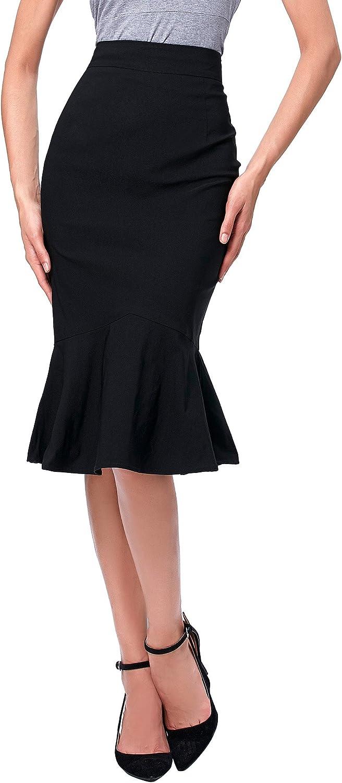 Kate Kasin Women Elegant High Waist Mermaid Bodycon Midi Skirt