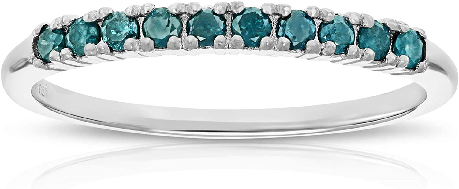 Vir Free shipping New Jewels 1 4 cttw Blue Wedding .925 Diamond Ring Band Sterling Excellent