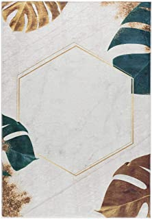 Waschbarer Teppich grün beige gold Blumen Muster Modern rutschhemmend