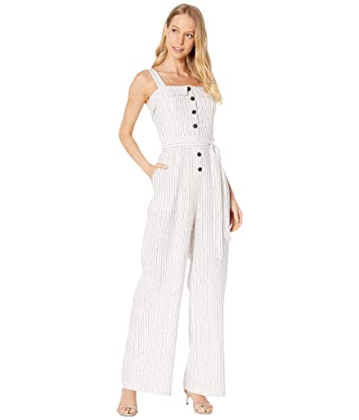 1.STATE Sleeveless Button Front Canopy Stripe Jumpsuit (Rich Black) Women