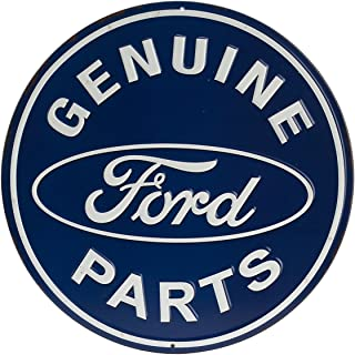 Open Road Brands Ford Genuine Parts Round Embossed Sign - Vintage Retro Metal Tin Signs - for Garage Art, Man Cave and Home Decor