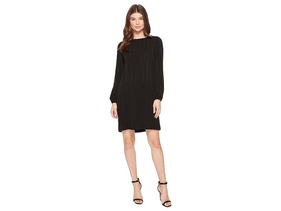 CATHERINE Catherine Malandrino Long Sleeve Pleated A-Line Dress (Black Beauty) Women