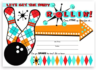 POP parties Bowling Party Large Invitations - 10 Invitations + 10 Envelopes