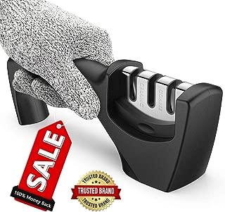 Best Kitchen Knife Sharpener,Upgraded 3-Stage Blades Sharpener Stone(Ceramic,Coarse,Fine). Best For Chef/Fillet Knives.Easy Manual Shapening,Cut-Resistant Glove Included for More Safe Sharpening.