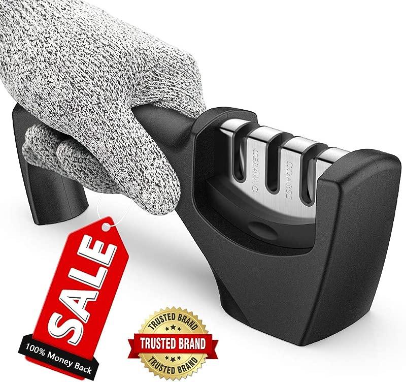 Best Kitchen Kinfe Sharpener Upgraded 3 Stage Blade Senzu Sharpener Stone Ceramic Coarse Fine Best For Chef Fillet Knives Easy Manual Shapening Cut Resistant Glove Included For More Safe Sharpening